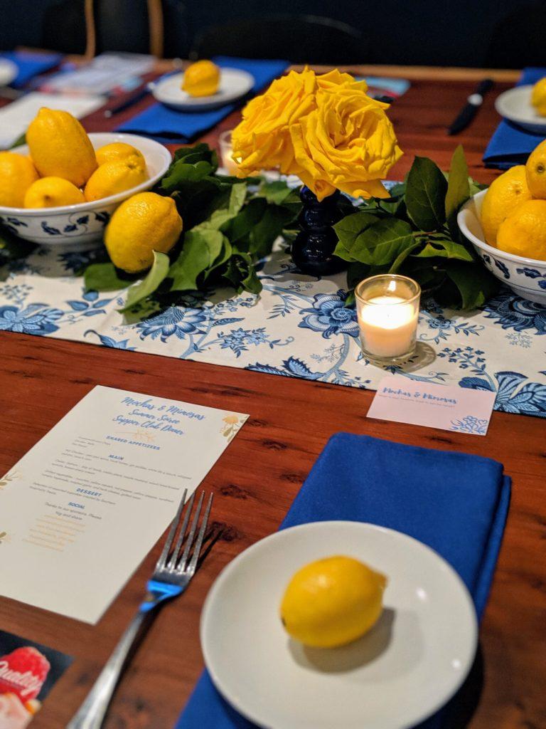 Summer tablescape, dinner party table ideas, lemon decorations