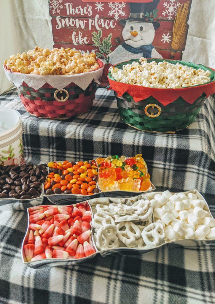 holiday movie night & popcorn bar