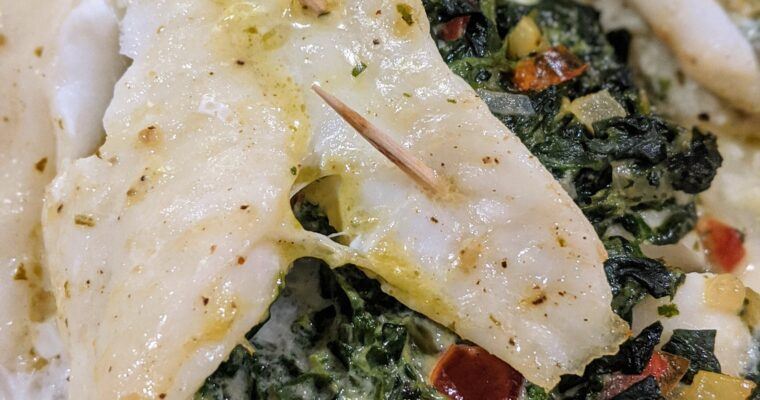 Creamy Spinach Stuffed Flounder